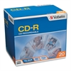 Verbatim CD-R Discs, 700MB/80min, 52x, w/Slim Jewel Cases, Silver, 20/Pack