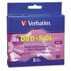 Verbatim Dual-Layer DVD+R Discs, 8.5GB, 8x, w/Jewel Cases, 5/Pack, Silver