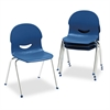 "Virco IQ Series Stack Chair, 17-1/2"" Seat Height, Navy/Chrome, 4/Carton"