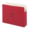 "Wilson Jones ColorLife 3 1/2"" Expansion Pocket, Straight Tab, Manila, Letter, Red, 25/Box"