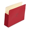 """Wilson Jones ColorLife 5 1/4"""" Expansion Pocket, Straight Tab, Letter, Red, 10/Box"""