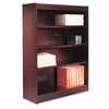 Alera Square Corner Wood Veneer Bookcase, Four-Shelf, 35-5/8 x 11-3/4 x 48, Mahogany
