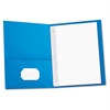 Universal Two-Pocket Portfolios w/Tang Fasteners, 11 x 8-1/2, Light Blue, 25/Box