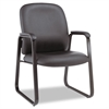 Alera Alera Genaro Series Guest Chair, Black Leather, Sled Base