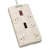 Tripp Lite TLP808TEL Surge Suppressor, 8 Outlets, 8 ft Cord, 2160 Joules, Light Gray