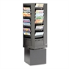 Safco Steel Rotary Magazine Rack, 44 Compartments, 14w x 14d x 48h, Black