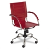 Safco Flaunt Series Mid-Back Manager's Chair, Red Leather/Chrome