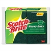 "Scotch-Brite Heavy-Duty Scrub Sponge, 4 1/2"" x 2 7/10"" x 3/5"", Green/Yellow, 6/Pack"