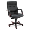 Madaris Series High-Back Knee Tilt Leather Chair Wood Trim, Black/Mahogany