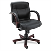 Madaris Series MidBack knee Tilt Leather Chair w/Wood Trim, Black/Mahogany