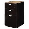 Mayline Mira Series Box/Box/File Credenza Pedestal, 15w x 22d x 27¾h, Espresso