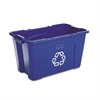 Rubbermaid Commercial Stacking Recycle Bin, Rectangular, Polyethylene, 18gal, Blue