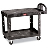 Rubbermaid Commercial Flat Shelf Utility Cart, Two-Shelf, 25-1/4w x 44d x 38-1/8h, Black