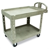 Rubbermaid Commercial Heavy-Duty Utility Cart, Two-Shelf, 25 1/4w x 44d x 39h, Beige