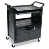 Rubbermaid Commercial Utility Cart With Locking Doors, Two-Shelf, 33-5/8w x 18-5/8d x 37-3/4h, Black