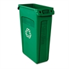 Rubbermaid Commercial Slim Jim Recycling Container w/Venting Channels, Plastic, 23gal, Green