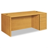 HON 10700 Single Pedestal Desk, Full Right Pedestal, 72w x 36d x 29 1/2h, Harvest