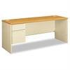 HON 38000 Series Left Pedestal Credenza, 72w x 24d x 29-1/2h, Harvest/Putty