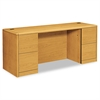 HON 10700 Kneespace Credenza, Full Height Pedestals, 72w x 24d x 29 1/2h, Harvest