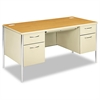 Mentor Series Double Pedestal Desk, 60w x 30d x 29-1/2h, Harvest/Putty