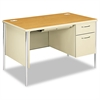 Mentor Series Single Pedestal Desk, 48w x 30d x 29-1/2h, Harvest/Putty
