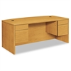 HON 10500 Series Bow Front Desk, 3/4 Height Dbl Pedestals, 72 x 36 x 29-1/2, Harvest