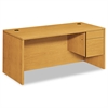 "HON 10500 Series ""L"" Right 3/4-Height Pedestal Desk, 66 x 30 x 29-1/2, Harvest"