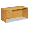 HON 10500 Series 3/4-Height Pedestal Desk, 66 x 30 x 29-1/2, Harvest