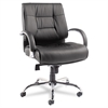 Alera Ravino Big & Tall Series Mid-Back Swivel/Tilt Leather Chair, Black