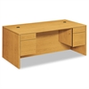 HON 10500 Series 3/4-Height Double Pedestal Desk, 72w x 36d x 29-1/2h, Harvest