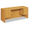 10500 Series Kneespace Credenza With 3/4-Height Pedestals, 60w x 24d, Harvest
