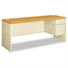 HON 38000 Series Right Pedestal Credenza, 72w x 24d x 29-1/2h, Harvest/Putty