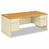 HON 38000 Series Double Pedestal Desk, 72w x 36d x 29-1/2h, Harvest/Putty