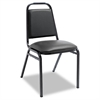 Alera Padded Steel Stack Chair w/Square Back, Black Vinyl, Black Frame, 4/Carton
