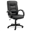 Strada Series High-Back Swivel/Tilt Chair, Black Top-Grain Leather