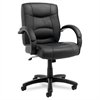 Alera Strada Series Mid-Back Swivel/Tilt Chair w/Black Top-Grain Leather