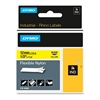 "Rhino Flexible Nylon Industrial Label Tape, 1/2"" x 11 1/2 ft, Yellow/Black Print"
