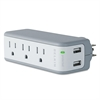 Wall Mount Surge Protector with USB Charger, 3 Outlets, 918 Joules, Gray/White