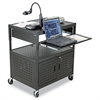 Height-Adjustable FDB AV Cart, Steel, 32-1/4w x 24-1/4d x 31 to 39h, Black