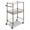 Alera Three-Tier Wire Rolling Cart, 28w x 16d x 39h, Black Anthracite