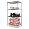 Alera Wire Shelving Starter Kit, Four-Shelf, 36w x 24d x 72h, Black Anthracite