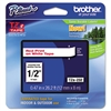 "Brother P-Touch TZe Standard Adhesive Laminated Labeling Tape, 1/2""w, Red on White"