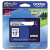 "Brother P-Touch TZe Standard Adhesive Laminated Labeling Tape, 1/2""w, Black on White"