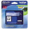 "Brother P-Touch TZe Standard Adhesive Laminated Labeling Tape, 3/4""w, White on Clear"