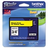 "Brother P-Touch TZe Standard Adhesive Laminated Labeling Tape, 3/4""w, Black on Yellow"