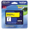 "Brother P-Touch TZe Standard Adhesive Laminated Labeling Tape, 1""w, Black on Yellow"