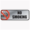 Cosco Brush Metal Office Sign, No Smoking, 9 x 3, Silver/Red