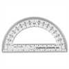 "Charles Leonard Open Center Protractor, Plastic, 6"" Ruler Edge, Clear, Dozen"