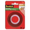 """Double-Sided Mounting Tape, Industrial Strength, 1"""" x 60"""", Clear/Red Liner"""