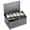 Extra Large Cash Box with Handles, Key Lock, Gray